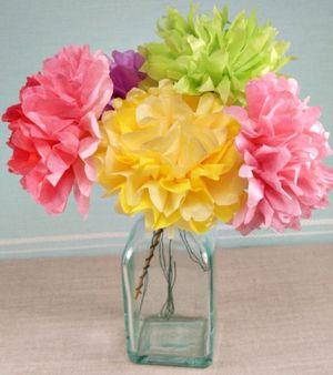 Как сделать цветы из бумаги тишью