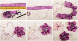tsvetok-iz-lentochki Подушки, колье и отделка трикотажа: цветы из ткани своими руками