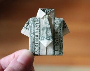 rubashka-origami Как сделать рубашку из денег, оригами рубашка из денег, как сделать рубашку из купюры и как сделать рубашку с галстуком