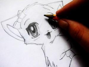 Нарисовать кошку аниме