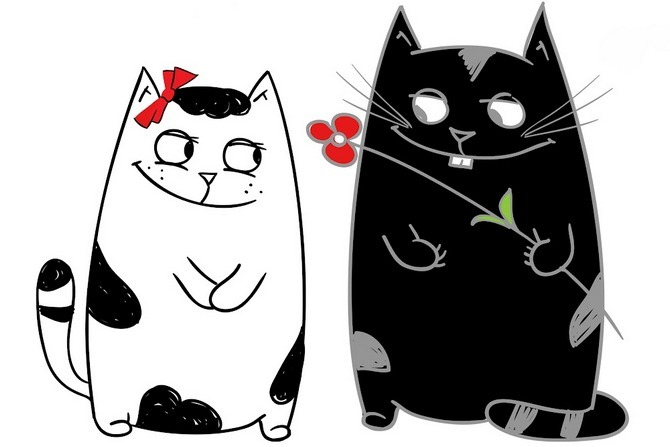 Два влюбленных котика