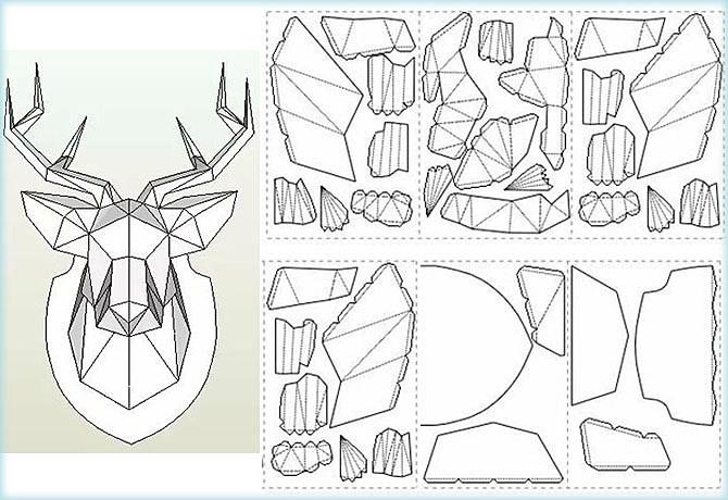Голова оленя из бумаги