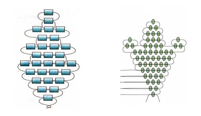 Параллельное плетение листьев и лепестков из бисера