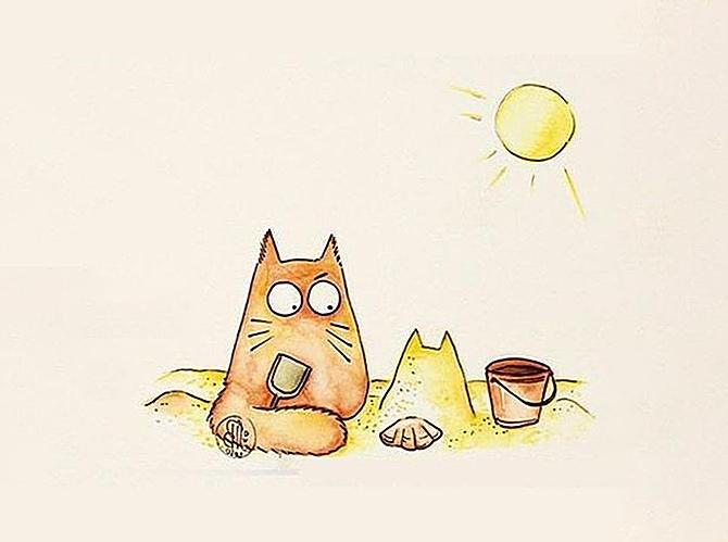 Кот в песочнице рисунок