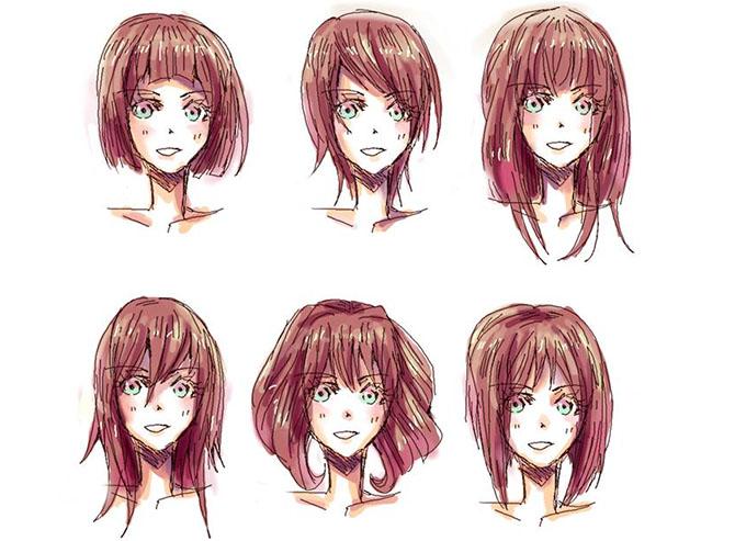 Женские аниме прически
