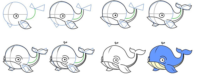 Схема рисования кита