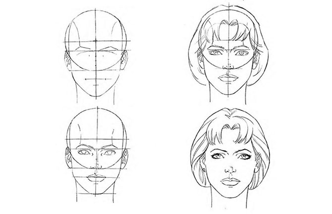 Схема рисование лица человека