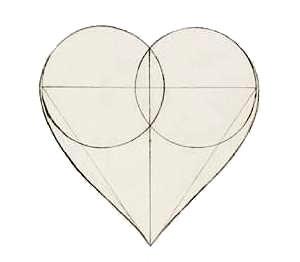 Рисуем сердце с помощью кругов и треугольника