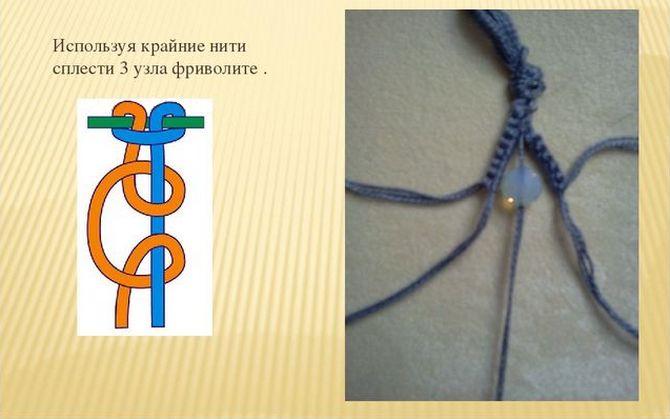 Схема плетения браслет фриволите