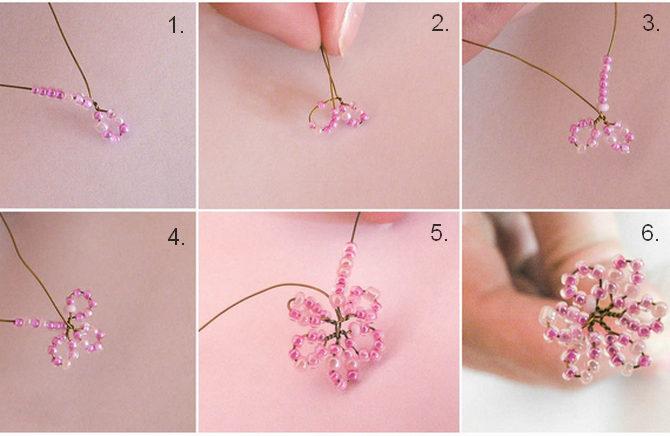 Плетение цветка сакуры