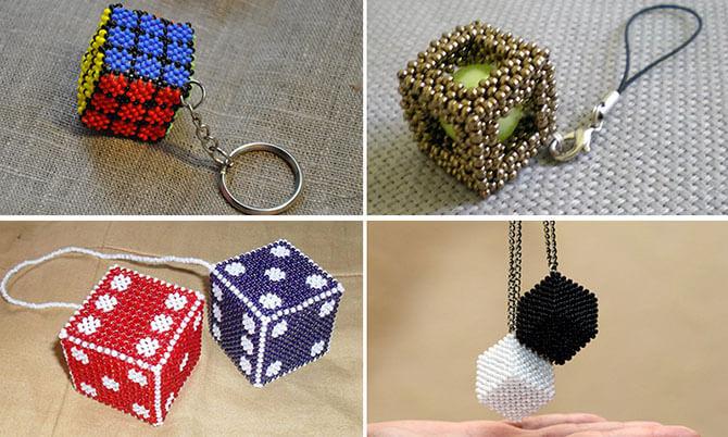 Плетеные из бисера кубики