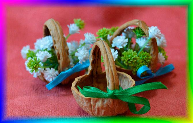 Корзины с цветами из ореха