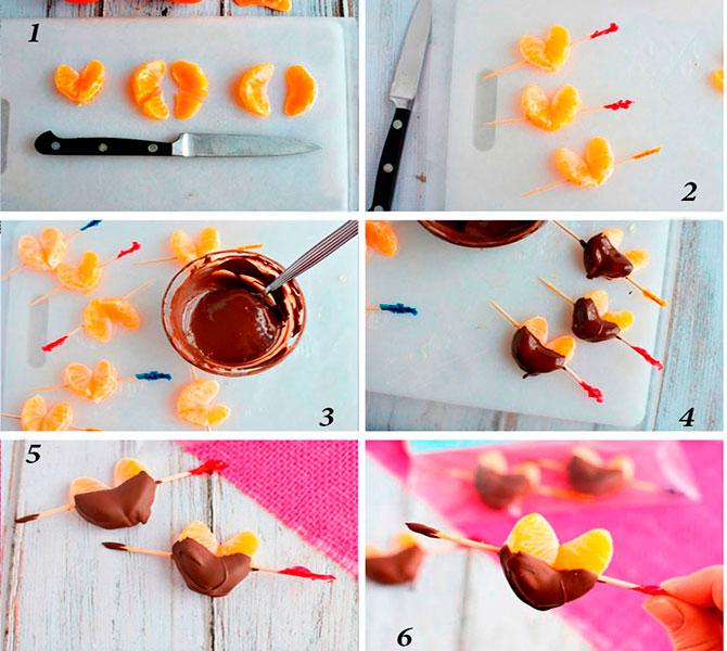 Съедобные сердечки из мандарина