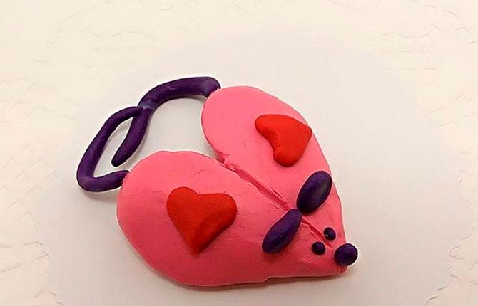 Подделка мышки в форме сердечка