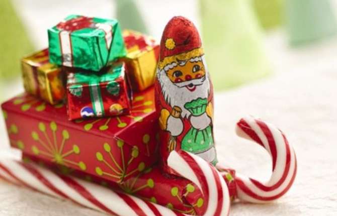 Новогодний декор из конфет