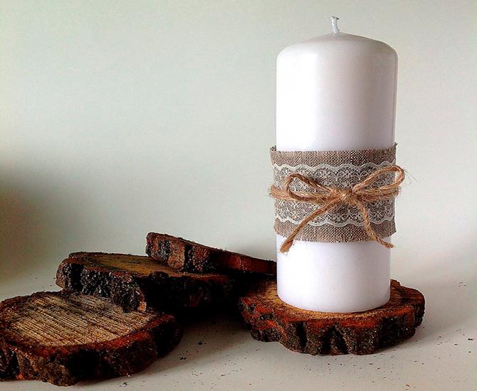 Джутовый шнур для украшения свечи