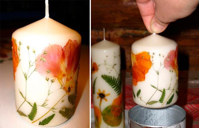 Украшение свечи гербарием