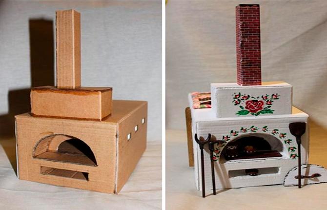 Русская печь из картонных коробок
