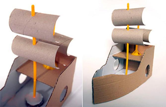 Корабль из картонной коробки