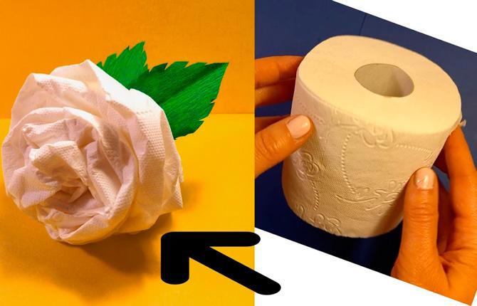 Роза из туалетной бумаги своими руками