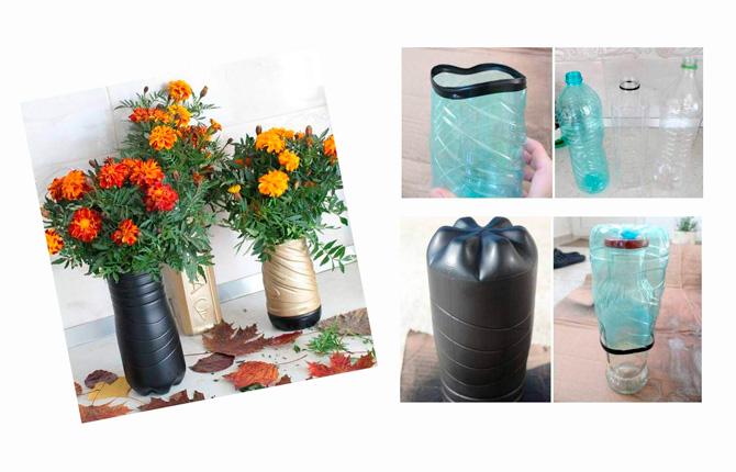 Делаем красивые вазы из пластиковых бутылок - пошаговый мастер-класс