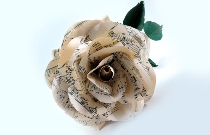 Роза из нотной бумаги своими руками