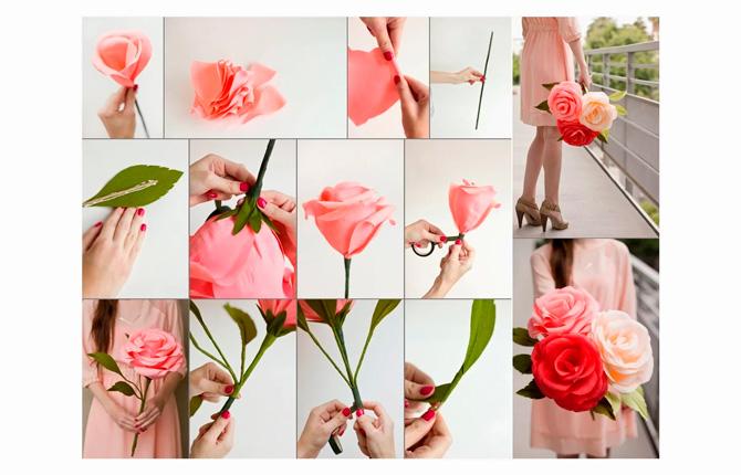 Роза из крепированной бумаги