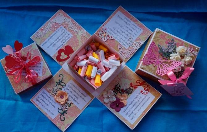 Коробочка с пожеланиями из бумаги