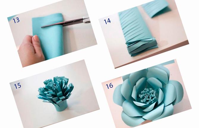 Красивый гигантский цветок из бумаги на подарок
