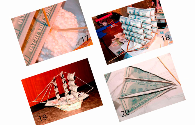 Корабль из сувенирных денег