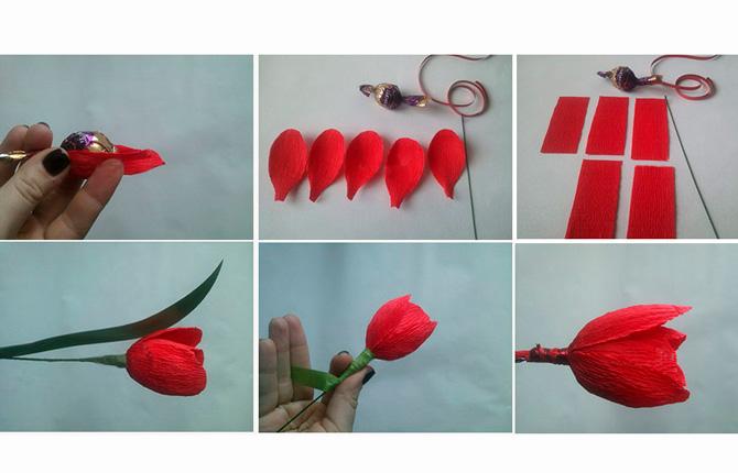 Тюльпаны из гофрированной бумаги мастер-класс