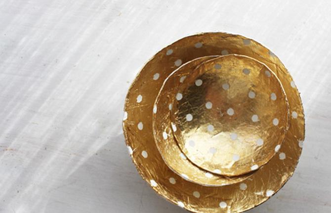 Тарелка в технике папье-маше
