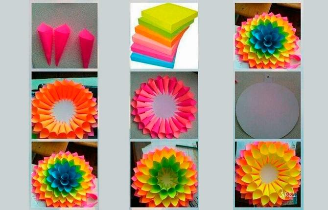 Цветочек из цветной бумаги мастер-класс